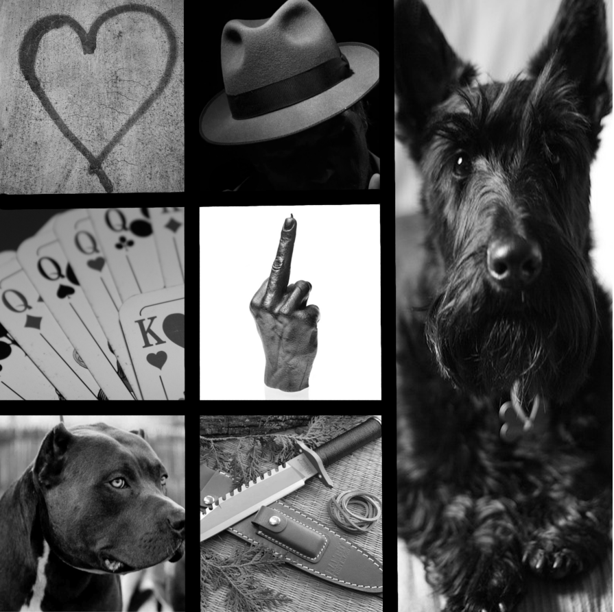 a moodboard in black and white showing a scottie dog, dogs, a fedora, knives, cards, a graffiti heart, and a gloved hand flipping the middle finger